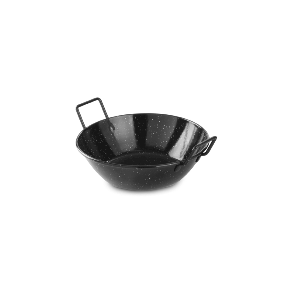 Mini paellera alta Hendi in latta smaltata nera cm 24x7