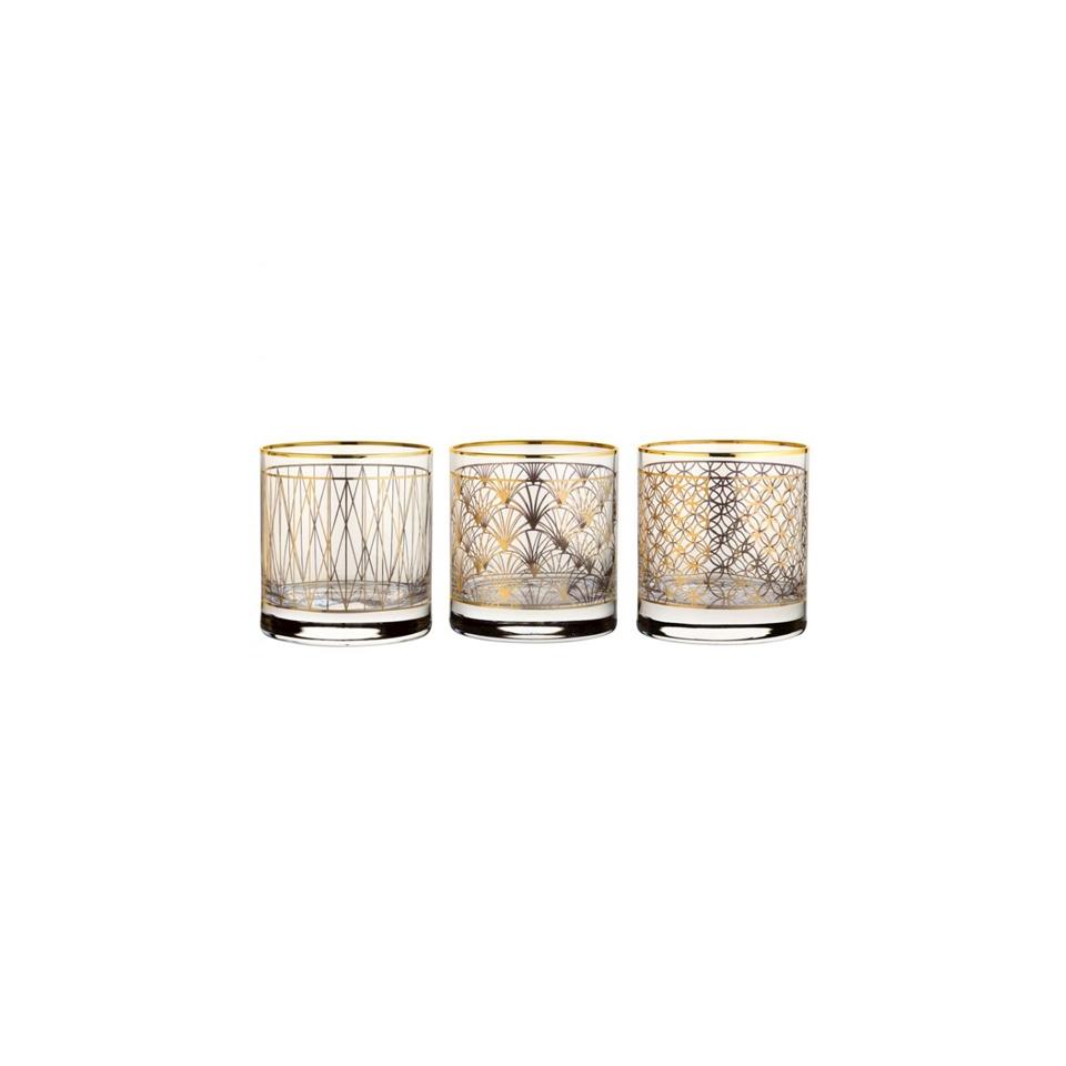 Bicchiere Side Coco Gold con decori oro assortiti in vetro cl 33