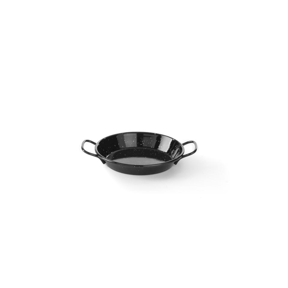 Mini paellera Hendi in latta smaltata nera cm 20x3,6