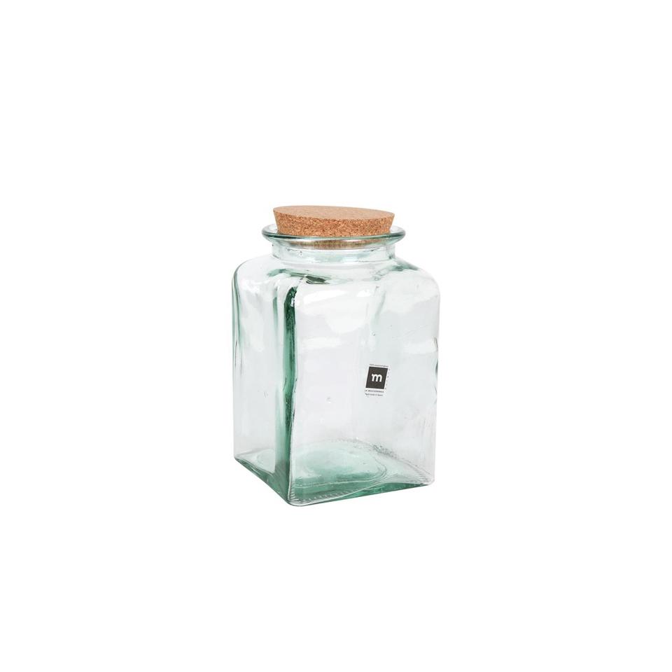 Barattolo quadro Puchades in vetro riciclato con tappo in sughero kg 2,9