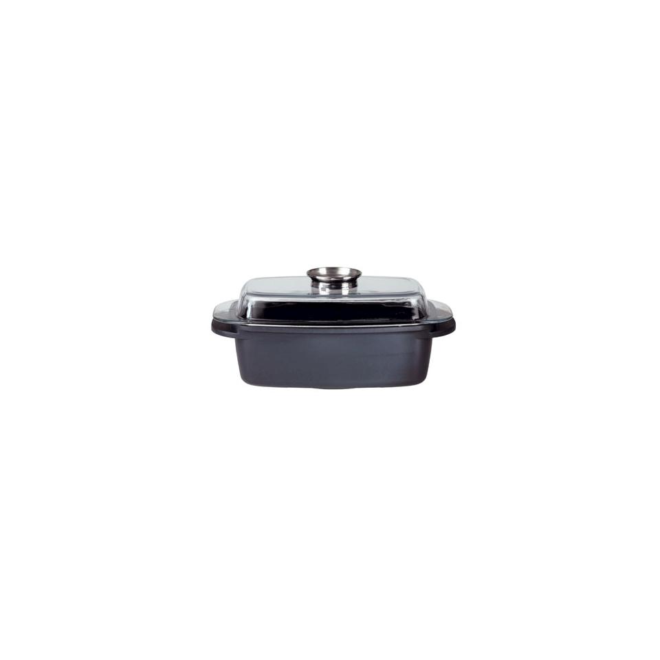Rostiera rettangolare Aroma Gourmet con coperchio in ferro e alluminio lt 5,5