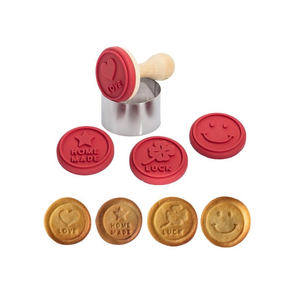 Tagliabiscotti a timbro in legno con stampo in silicone