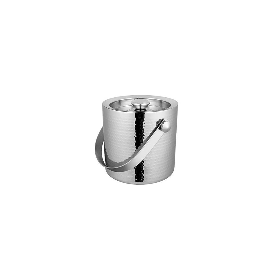 Secchiello ghiaccio con coperchio in acciaio inox martellato cm 15,5