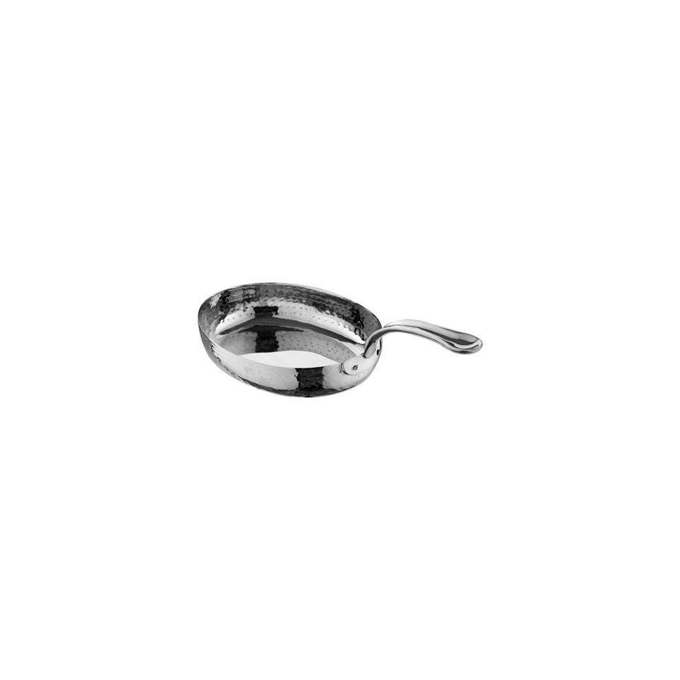 Tegamino ovale a un manico in acciaio inox martellato cm 17x14