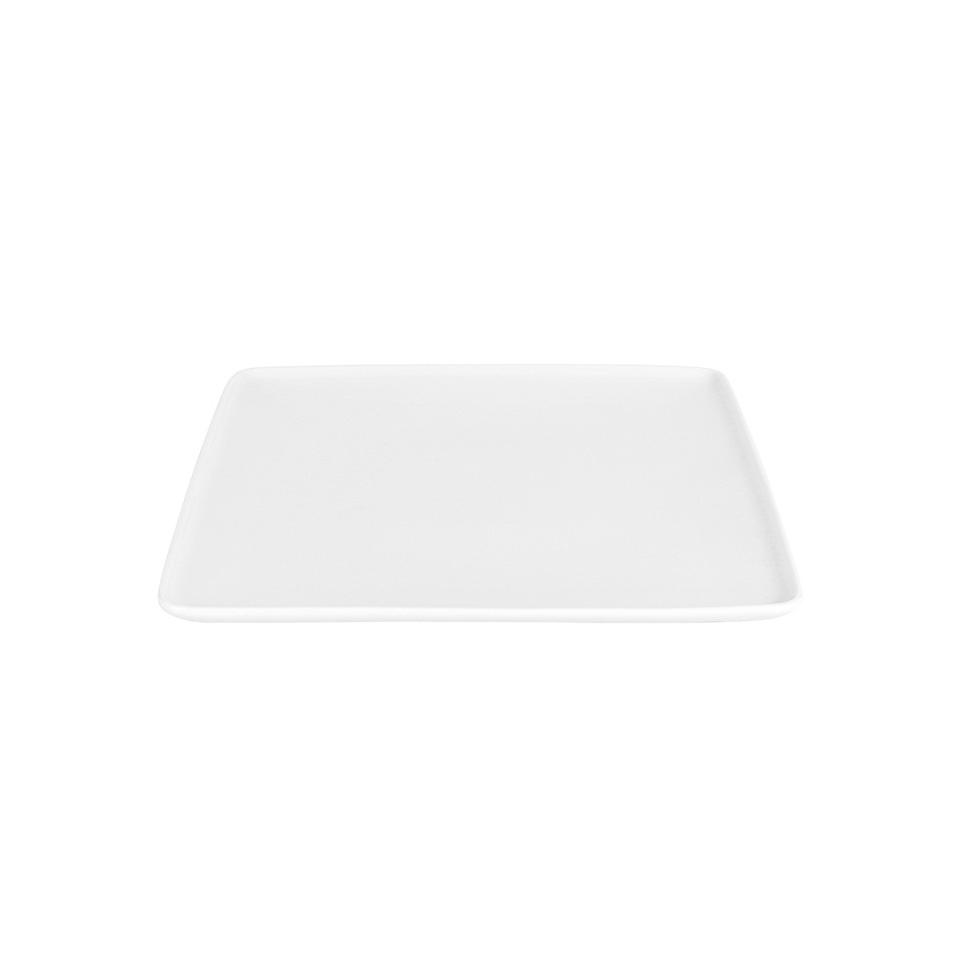Piatto piano quadro Dinner in porcellana bianca cm 26