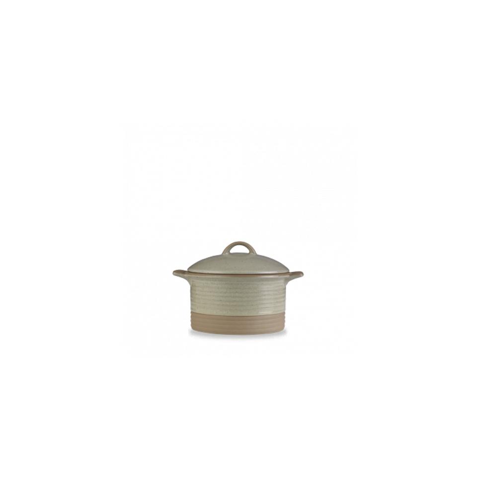 Mini Cocotte Igneous Churchill con coperchio in ceramica vetrificata beige cm 13