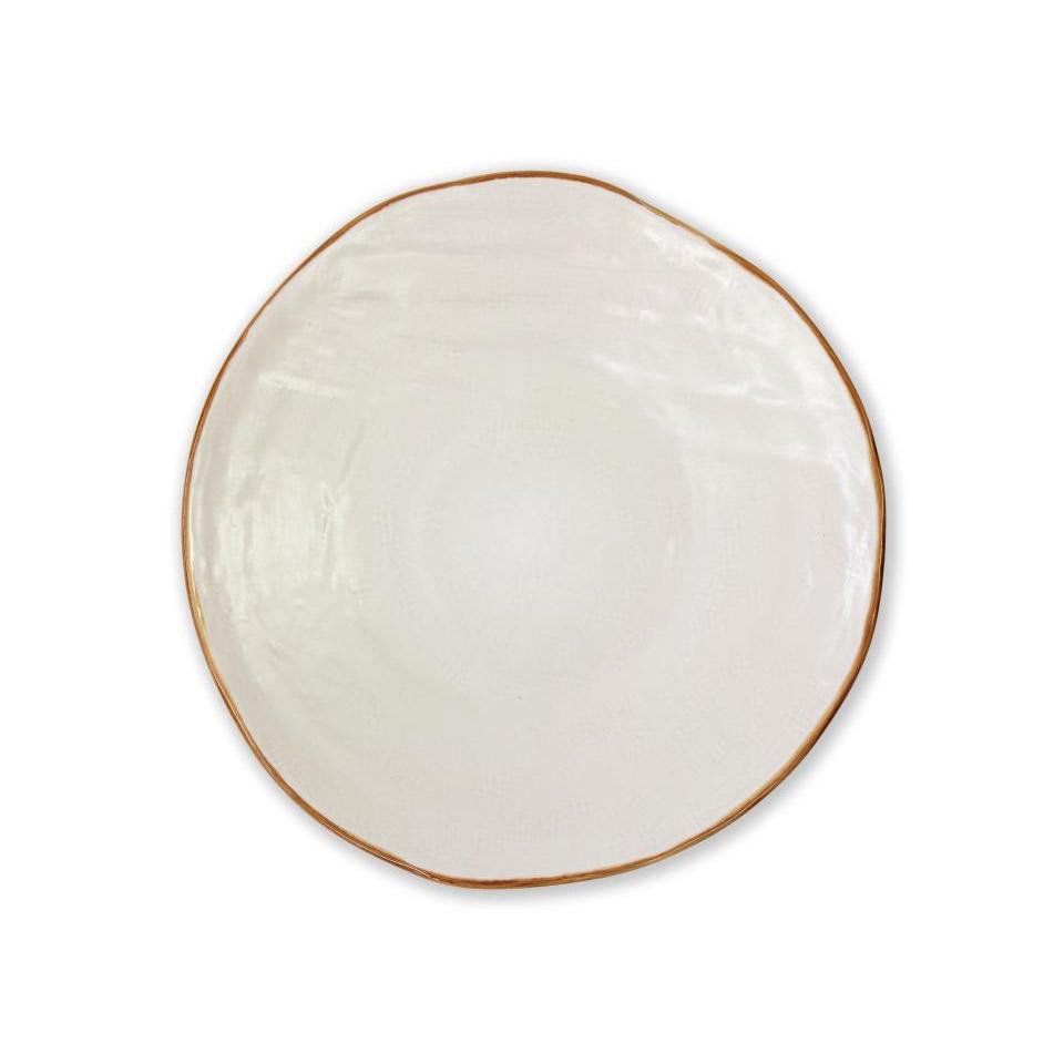 Piatto piano Mediterraneo in ceramica bianco