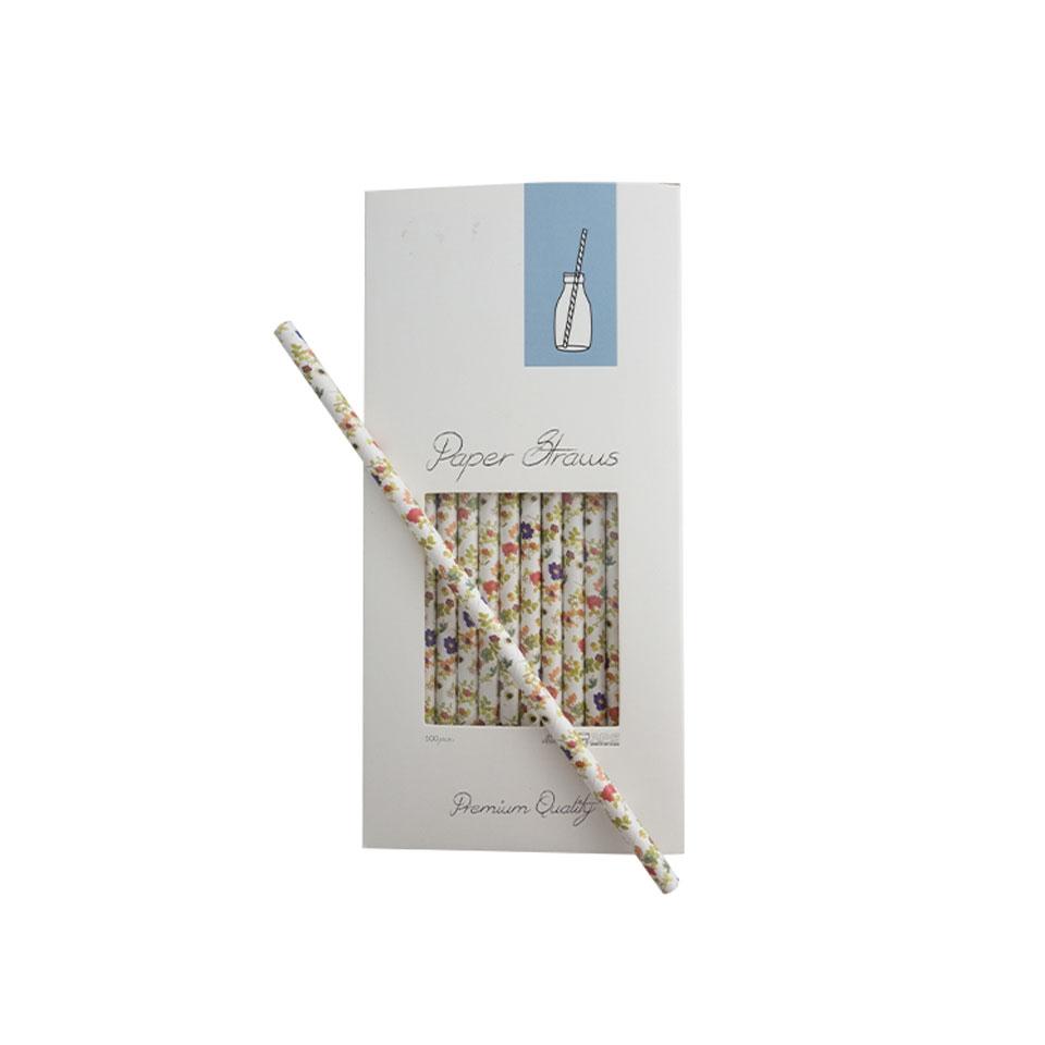 Cannucce Flowers in carta decorata a fiori cm 25,5x0,8