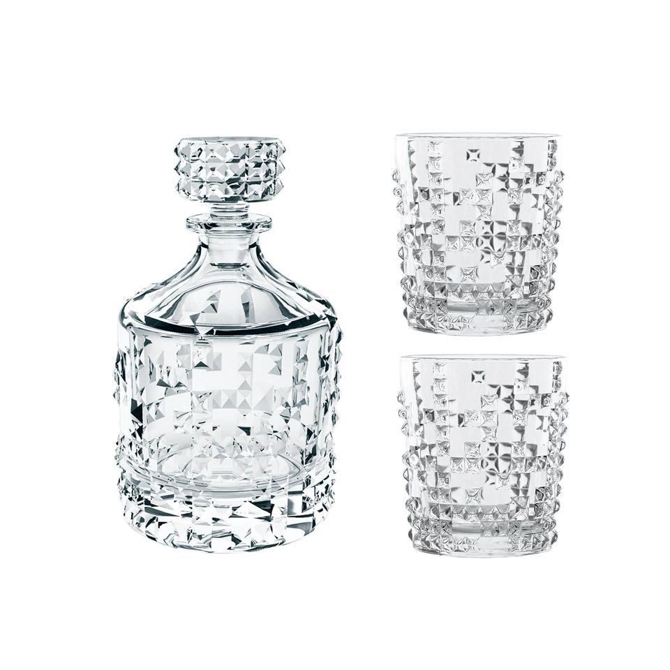 Set bottiglia e 2 bicchieri whisky Punk in vetro