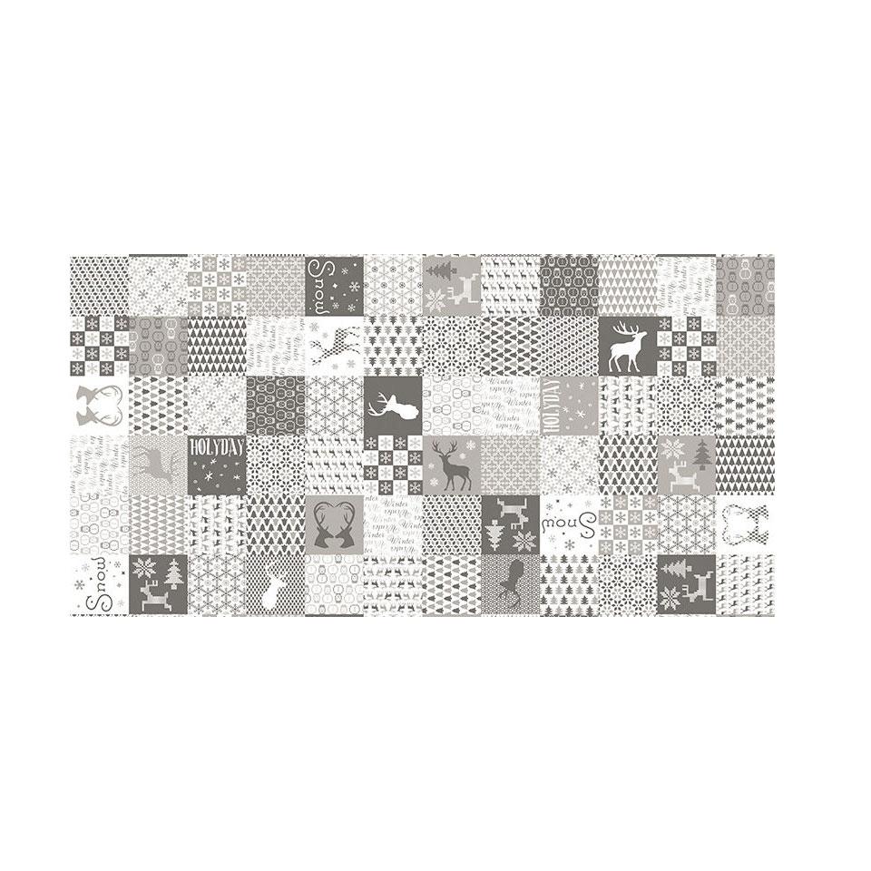 Tovaglia Natale patchwork stone in airlaid cm 100x100