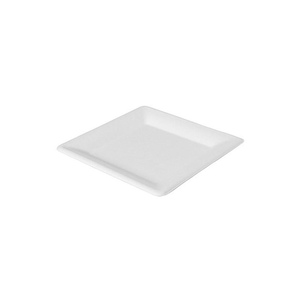 Piatto piano quadro Duni in polpa di cellulosa bianca cm 26x26