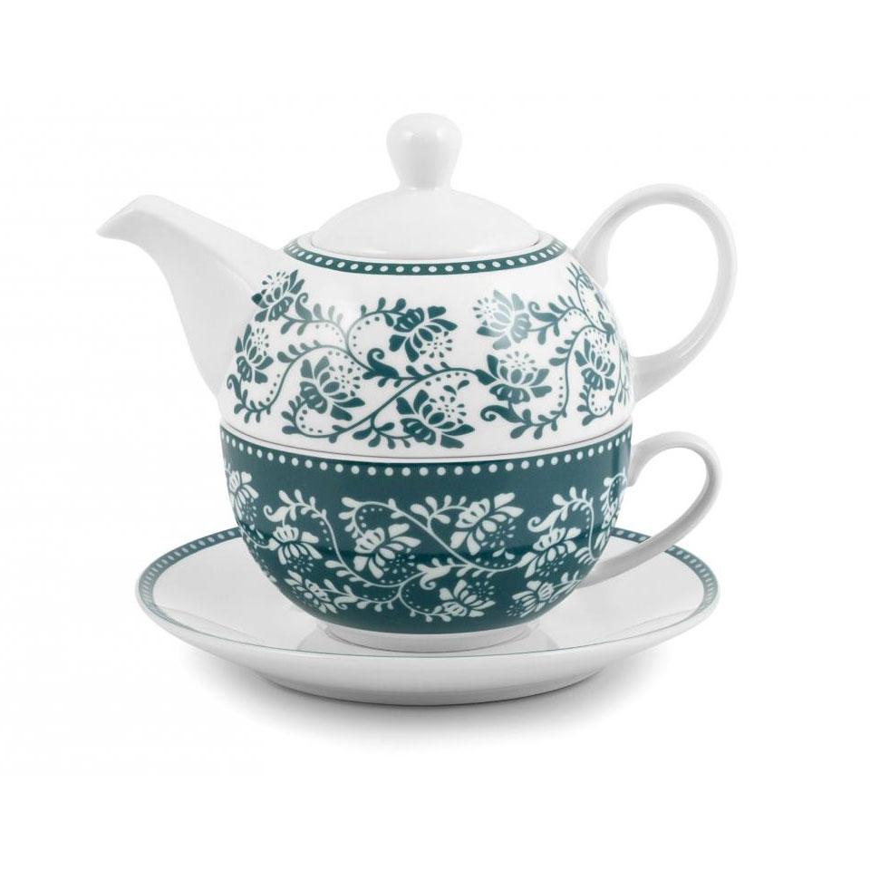 Teiera Tea For One Grace in porcellana verde e bianca