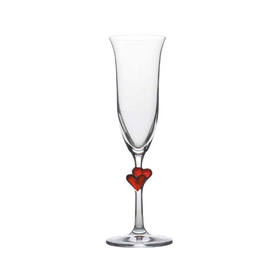 Flute L'Amour Stolzle in vetro con cuore rosso cl 17,5