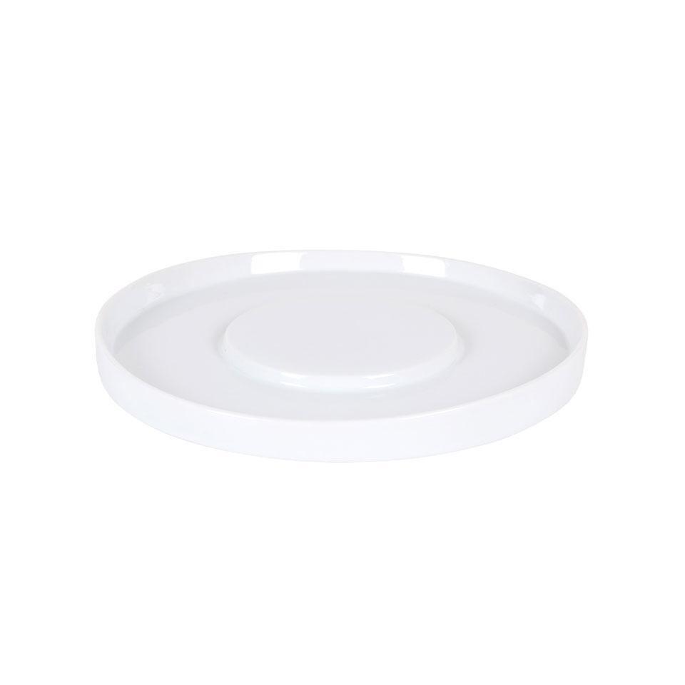 Piatto piano tondo presentazione Shangri-la in porcellana bianca