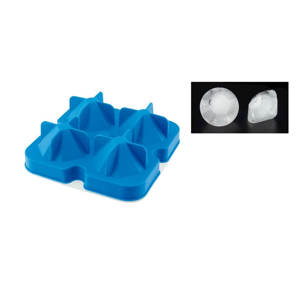 Stampo ghiaccio diamante 4 stampi in silicone blu cm 12,5x12,5