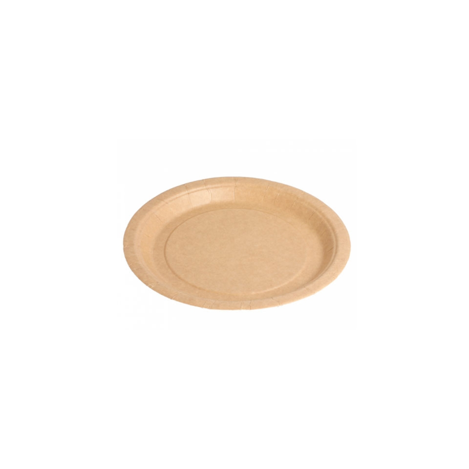 Piatto piano bio-laccato in carta marrone
