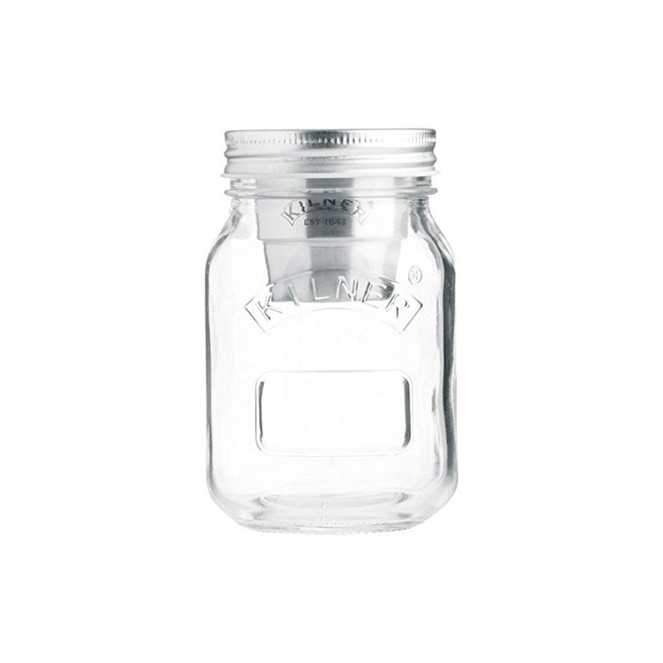 Barattolo Snack on the Go Kilner in vetro con tappo in alluminio e inserto in acciaio cl 50