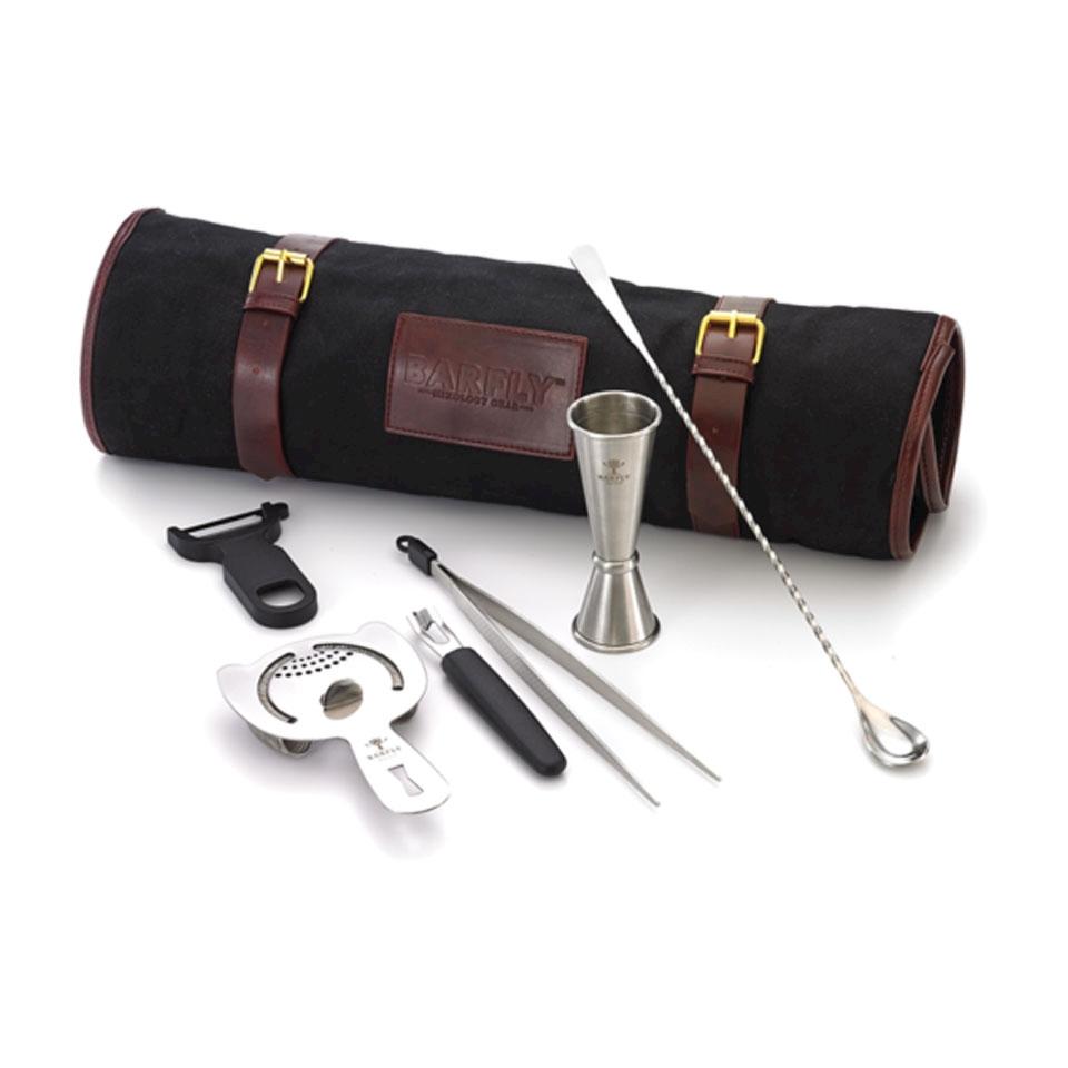 Roll bag Essential Bar Fly nera con 6 pezzi in acciaio inox anticato