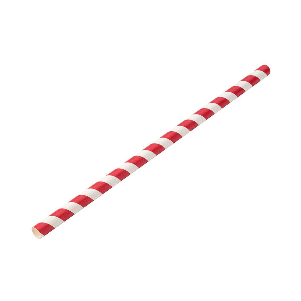 Cannucce biodegradabili Jumbo in carta con decoro a spirale bianco e rosso cm 23x0,9