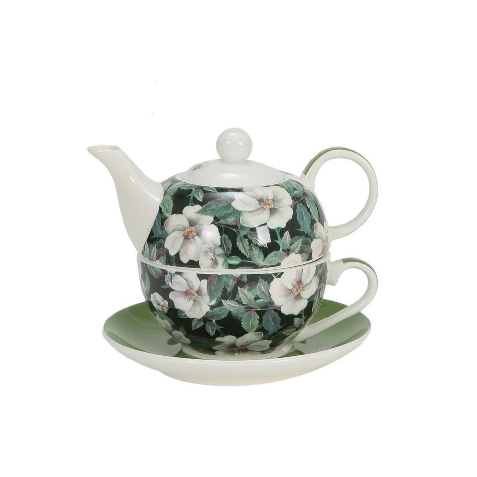 Tea For One Fiori Verdi in porcellana decorata