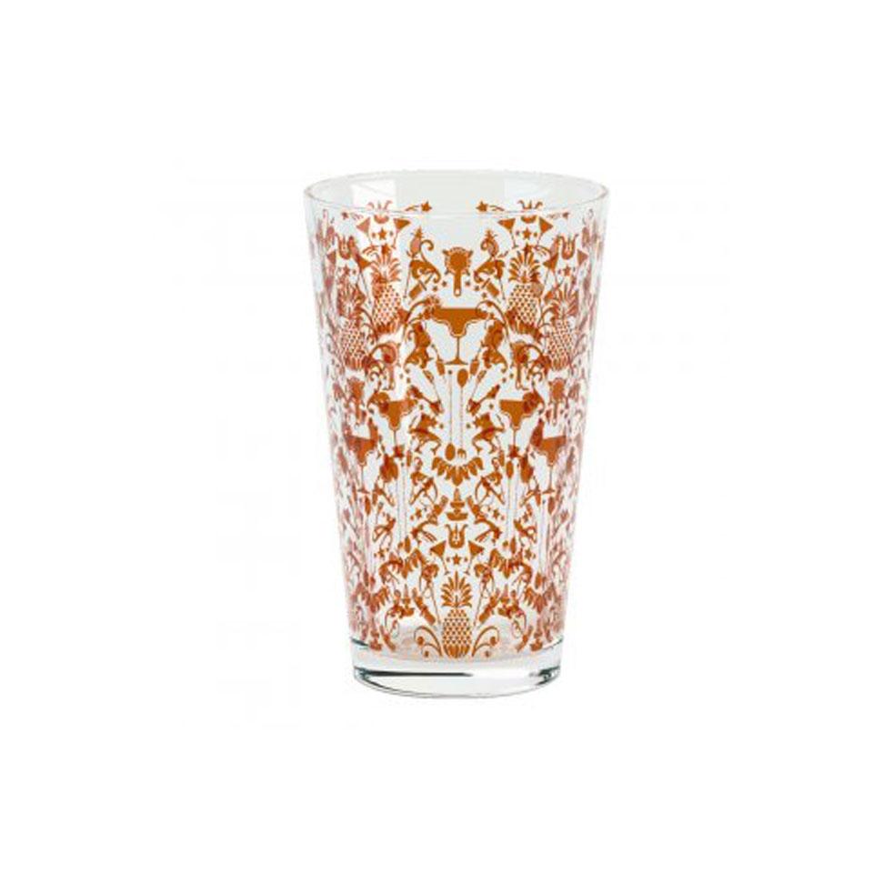 Bicchiere da boston Parma in vetro con decori in bronzo cl 45