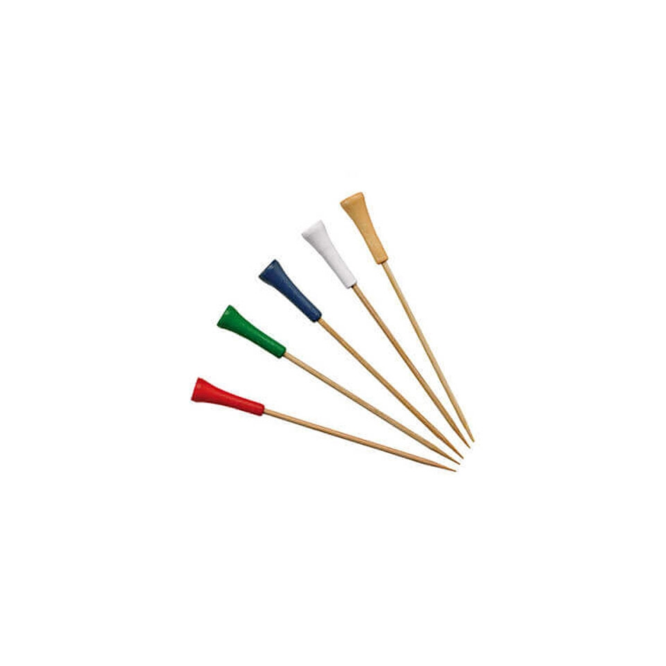 Stecchini Golf in legno di bamboo colori misti cm 12