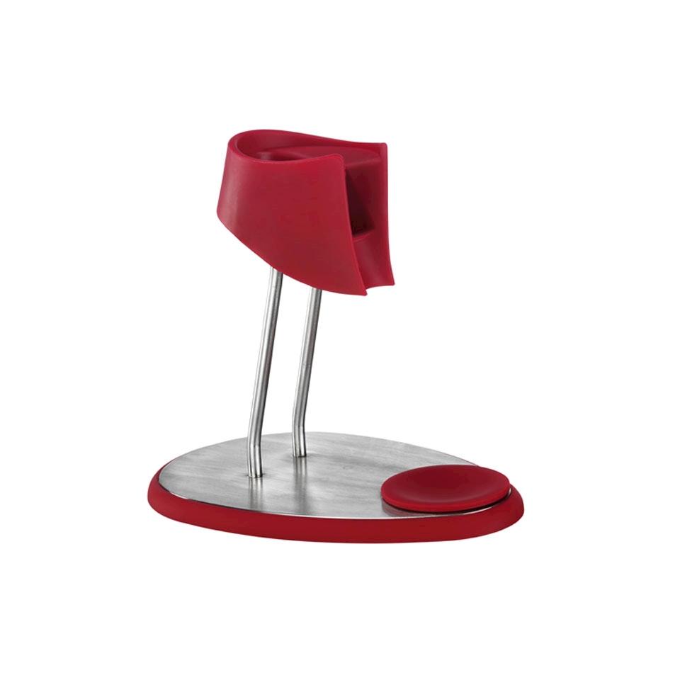 Supporto per sifoni iSi Whip in acciaio e silicone rosso
