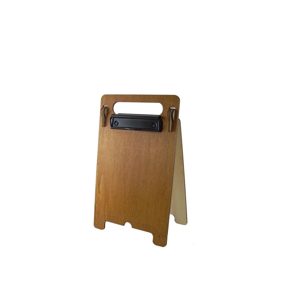 Porta menù a cavalletto con doppia clip in legno