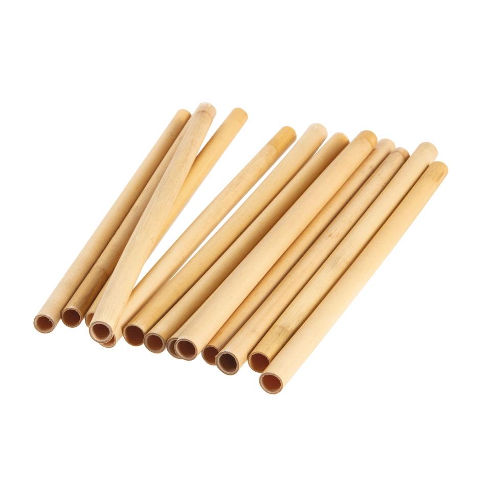 Cannucce riutilizzabili in legno bamboo colore naturale