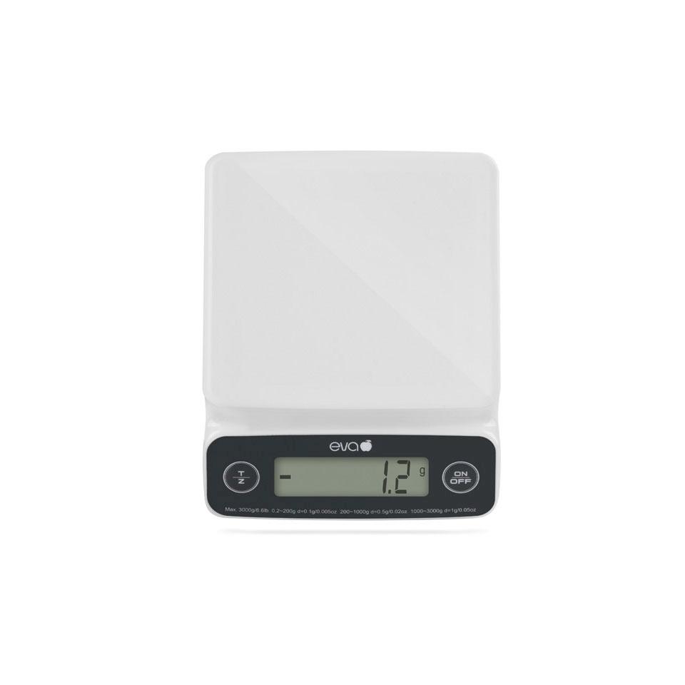 Bilancia digitale da cucina da 1 gr a 3 kg in plastica bianca