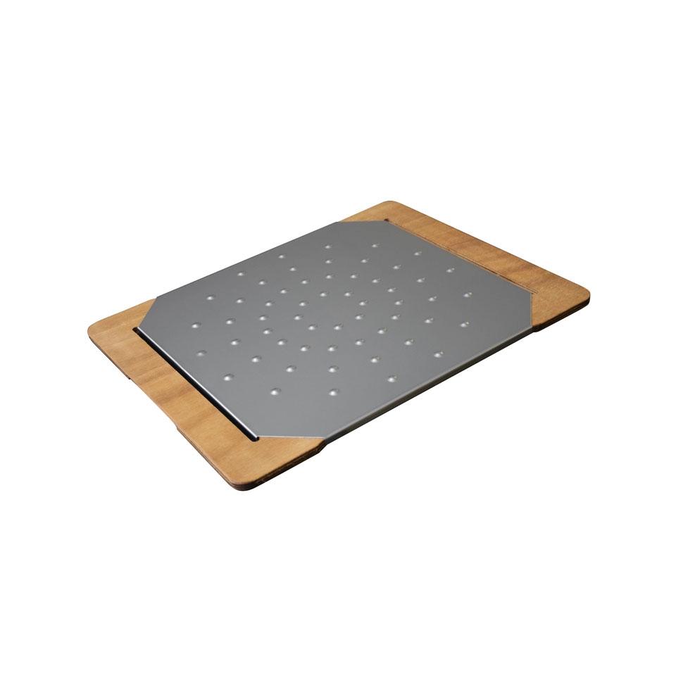 Tagliere Giusto per pinsa e pizza in acciaio inox e legno