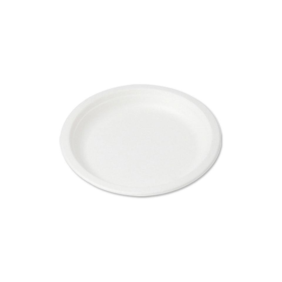 Piatto piano biodegradabile monouso in polpa di cellulosa cm 23