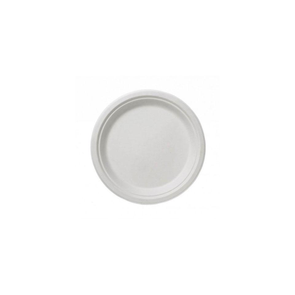 Piatti piani biodegradabili in polpa di cellulosa bianca cm 17,5