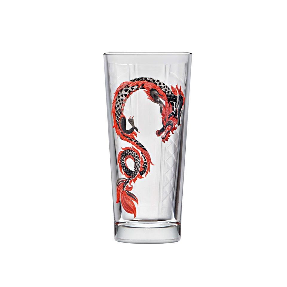 Bicchiere hi-ball Niho Dragon in vetro con decoro a dragone cl 36