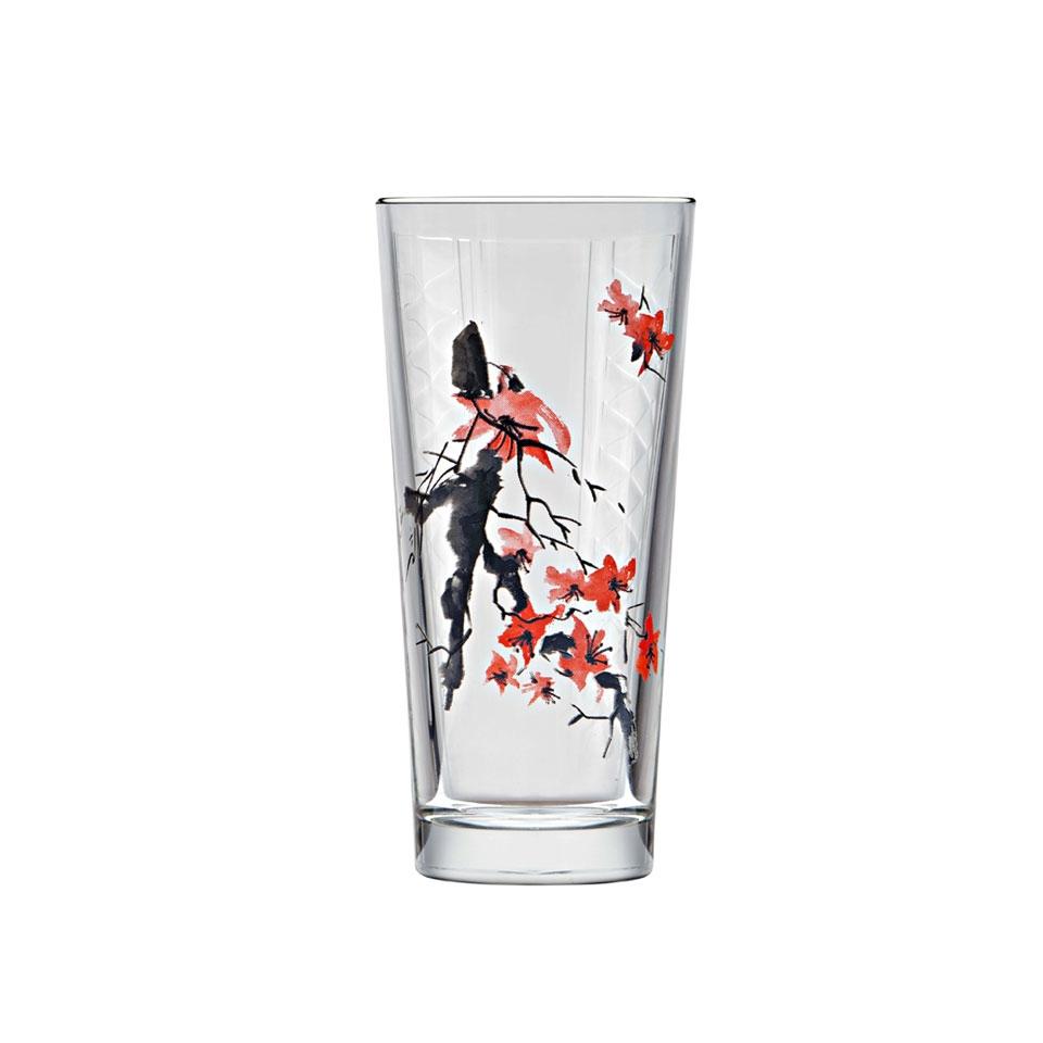 Bicchiere hi-ball Niho Fiori di Ciliegio in vetro con decoro a fiori di ciliegio cl 36