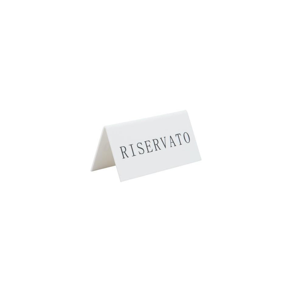 Segnatavolo Riservato bifacciale in acrilico bianco cm 10x4,2x4,6