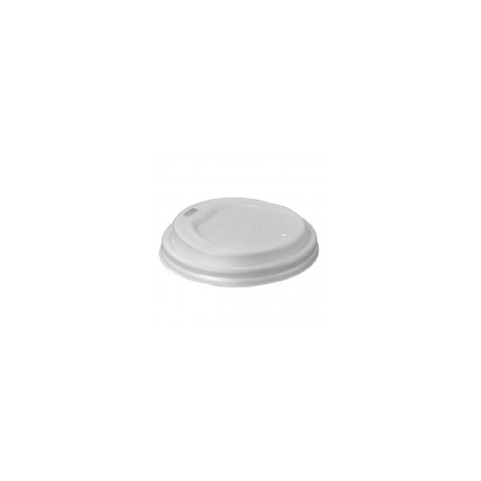 Coperchio monouso con foro per bicchiere caffè in cpla bianca
