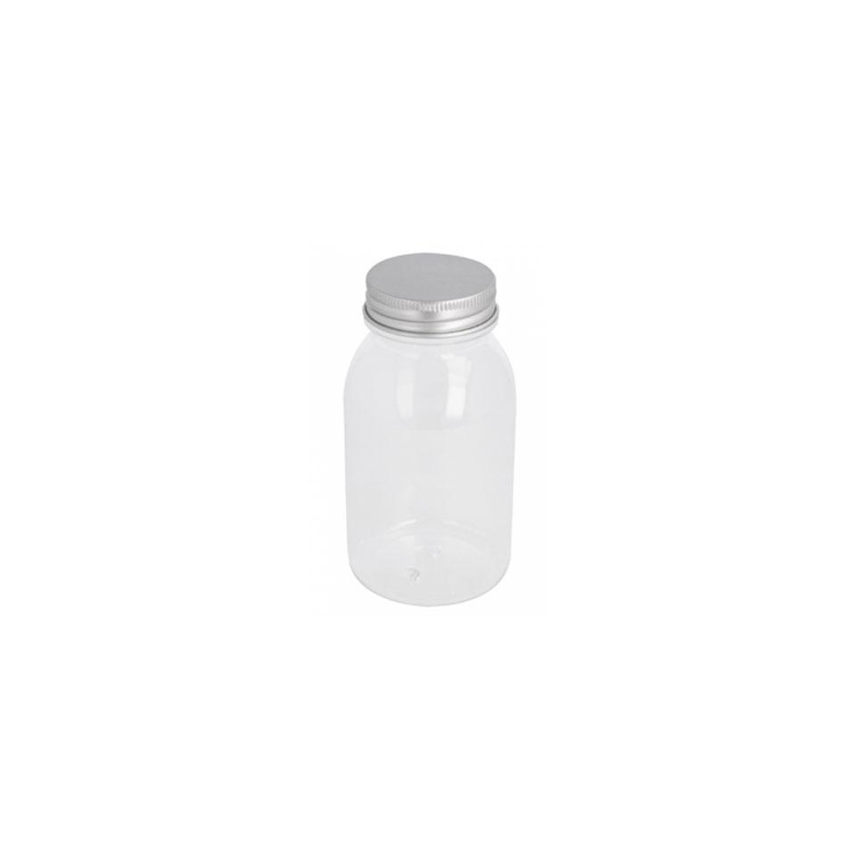 Flacone in pet trasparente con tappo in alluminio