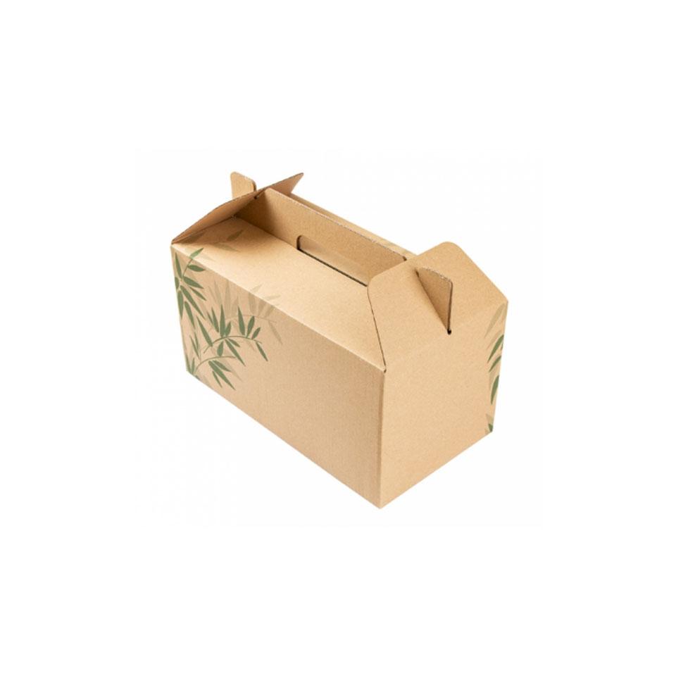 Scatola box per asporto in cartone marrone con decoro