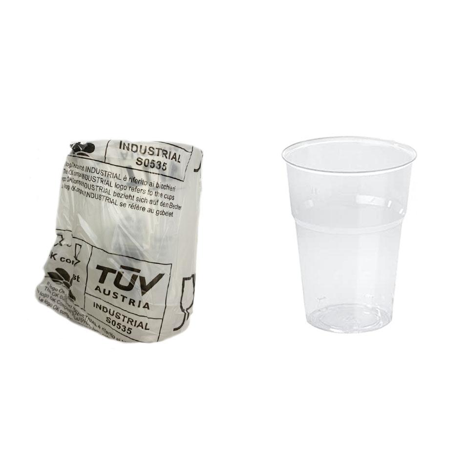 Bicchiere conico biodegradabile mono imbustato in pla trasparente cl 25