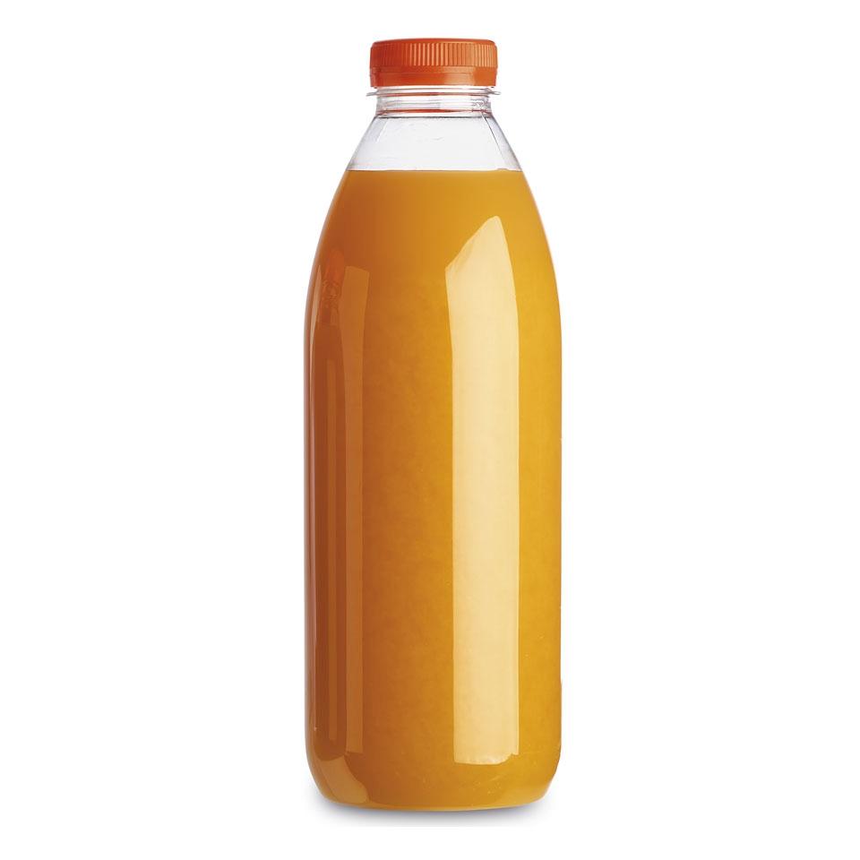 Bottiglia Servipack in pet trasparente con tappo arancione