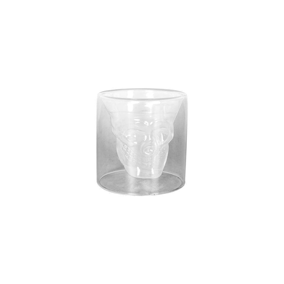 Bicchiere teschio Calavera in vetro trasparente