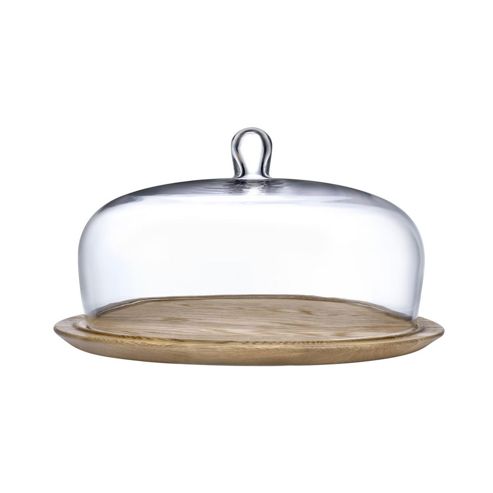 Piatto torta con cupola Meringue Nude in vetro e legno