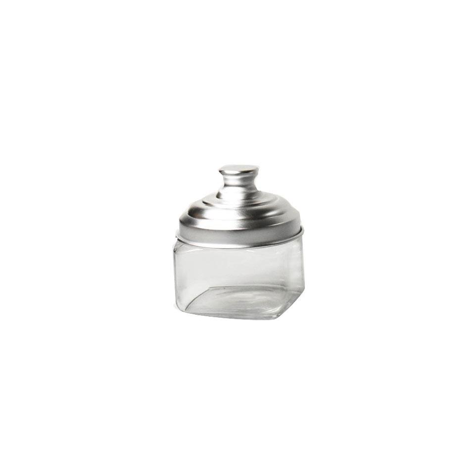 Barattolo quadro in vetro con tappo in alluminio