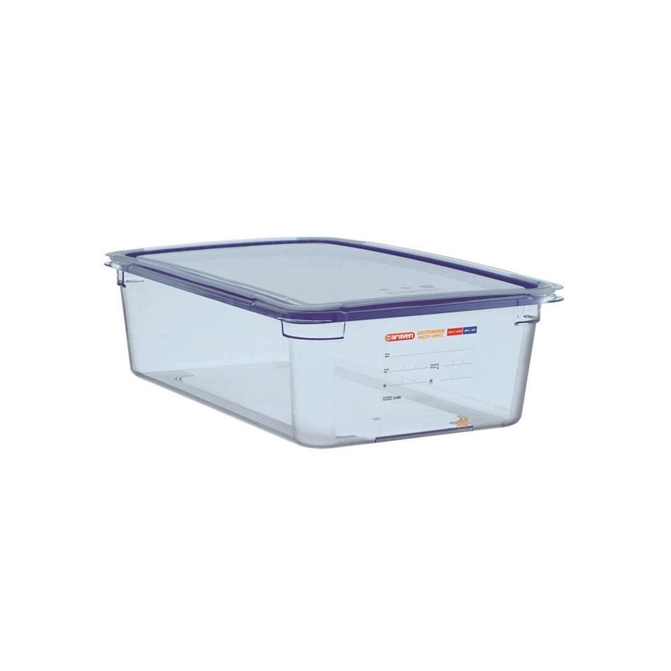 Contenitore 1/1 in plastica azzurra con coperchio altezza cm 15