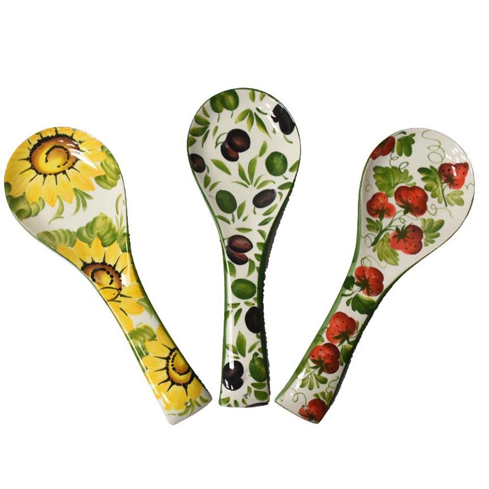 Poggiamestolo Fiori e Frutta in ceramica dipinta a mano in colori assortiti cm 34,5x12,5