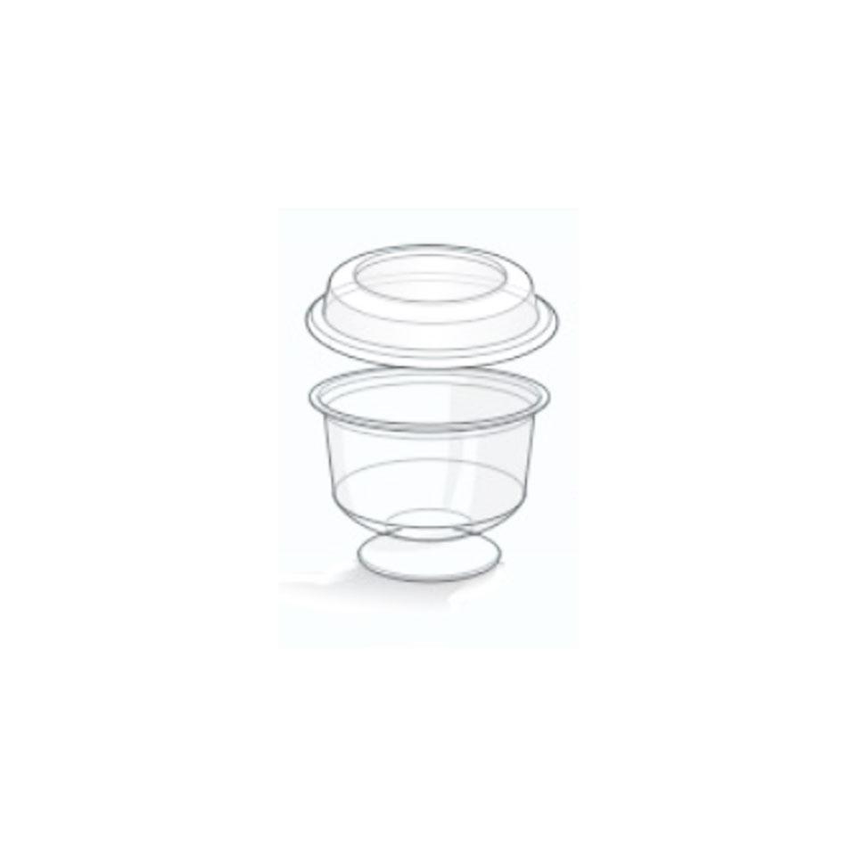 Coppetta con coperchio in plastica trasparente cl 20