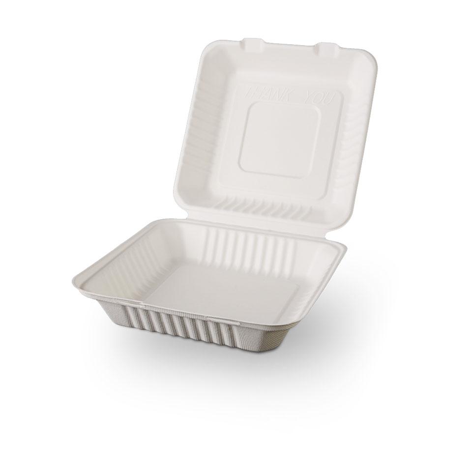 Contenitore per hamburger con coperchio in polpa di cellulosa cm 23x23x8