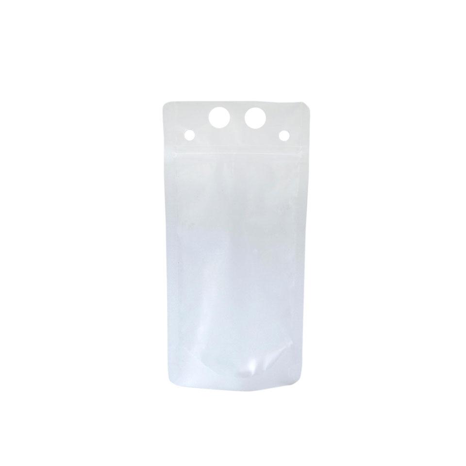 Sacchetto cocktail con foro per cannuccia e chiusura ermetica in polietilene trasparente