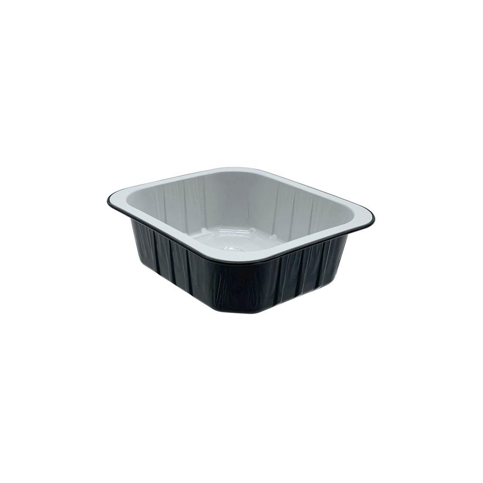 Vaschetta rettangolare monouso in alluminio nero e bianco